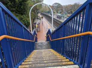 The stairs down to the railway platform.