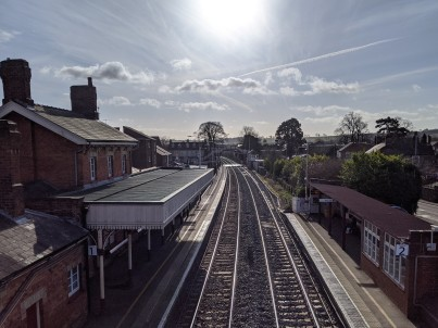 The sun beating down on Oakham station.