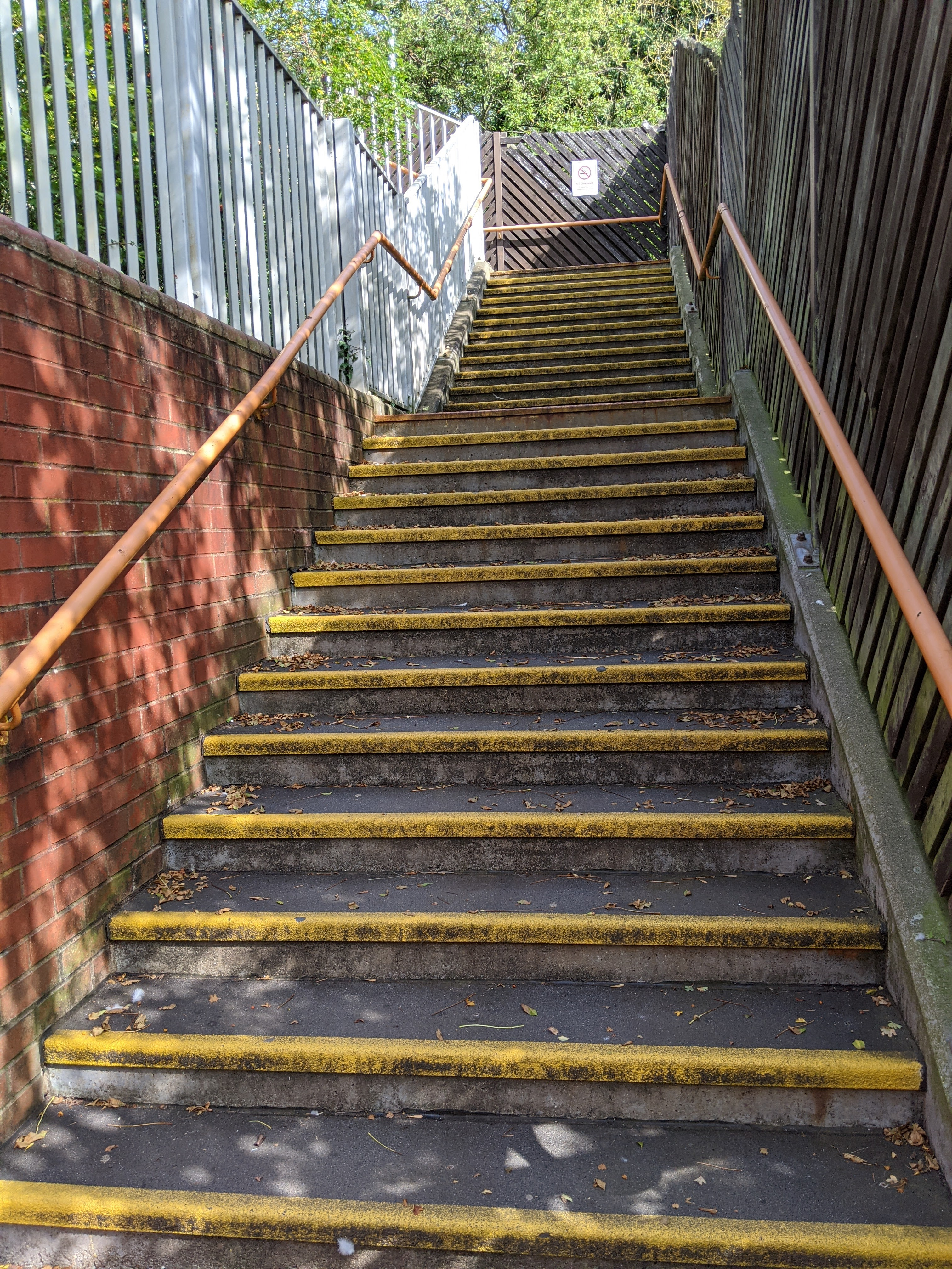 The stairs that the underpass leads to.
